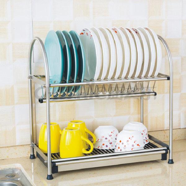 不锈钢双层碗碟架