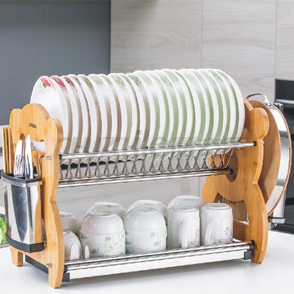 不锈钢熊猫二层碗碟架
